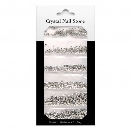 CRYSTAL NAIL STONE KIT - silver - 6x288 Pcs