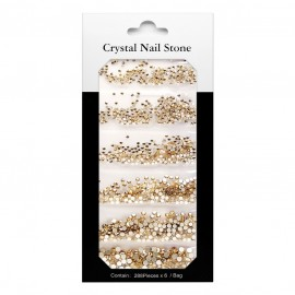 CRYSTAL NAIL STONE KIT - gold - 6x288 Pcs