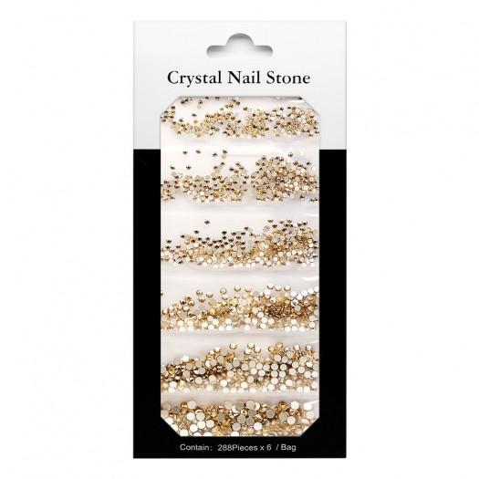 CRYSTAL NAIL STONE KIT - gold - 6x288 Pcs