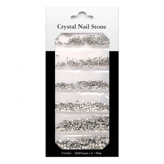 CRYSTAL NAIL STONE KIT - silver - 6x288 Pcs